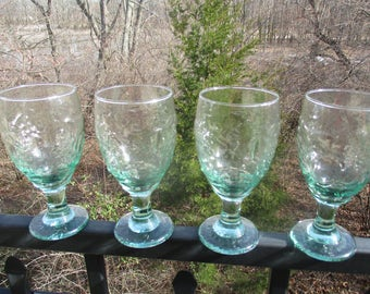 Set of Four Libbey Orchard Fruit Embossed Spanish Green Goblets