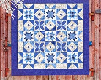 MIDNIGHT BLUE | pdf Quilt Pattern | Patterns | Traditional Quilts | Applique Quilt | Happy Quilts | Pieced Quilts | Blue & White Quilt