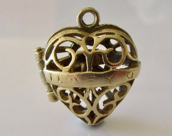 9ct Gold Heart and Cupid Opening Charm or Pendant