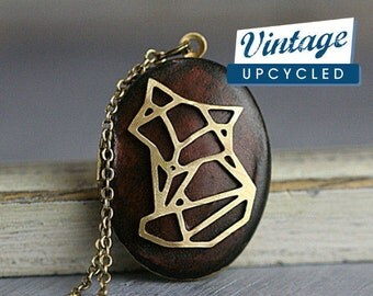 Walnut fox locket necklace. Wooden locket with origami style fox. Locket necklace for her.