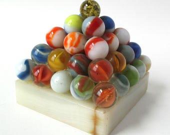 Marble Pyramid Trophy, unique, marbles collector piece, great condition