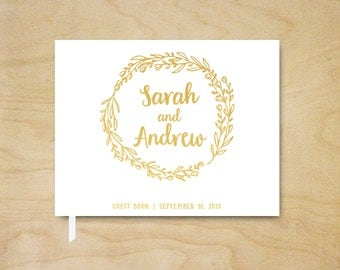 Real Foil Wedding Guest Book, Simple Wedding Guest Book, Silver or Gold Foil Custom Guestbook, Personalized Landscape Guest Book, Wreath