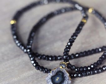 Black Spinel Necklace - Amethyst Stalactite Necklace - Raw Diamond and Gemstone Necklace - Black and Gold Boho Luxe Gemstone Necklace