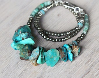 Emerald, Opal and Turquoise Necklace - May / October / December Birthstone Necklace - Chunky Stone Necklace