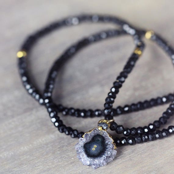 Black Diamond, Spinel & Amethyst Necklace - Stalactite Necklace