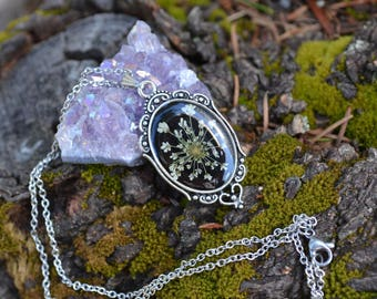 Antique Victorian Style Real Pressed Queen Anne's Lace Flowers Eco Resin Pendant