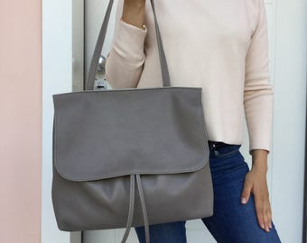 Leather tote bag/ Gray Leather bag/ Shoulder Tote bag/ Leather tote