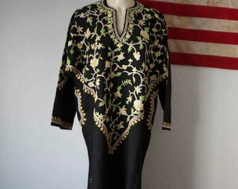 70s Kashmiri wool kaftan dress with Embroidered Trim