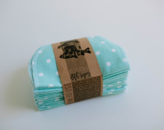 Baby Wipes - Set of 20 -  Double Layer  (tiffany with polka dots )