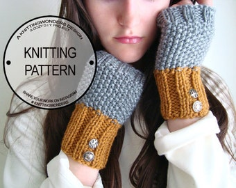Easy Fingerless Glove Knit Pattern / Textured Commuter Mitts, Wrist Warmers / Instant Digital PDF Download