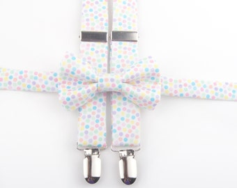 Pastel Dot bow tie & suspenders, easter suspenders, easter bow tie, pastel bow tie, boys bow tie, easter outfit, easter accessories, pastel