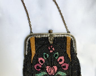 Antique Art Deco Micro Beaded Purse Metal Frame Attached Mirror Colorful Flowers