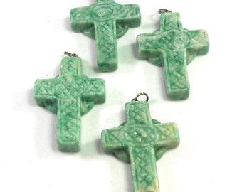 1 Ching Hai Jade Stone Cross, Green Off White, Green Carved Cross, Stone Cross Pendant, Religious Pendant, Chain Ready, Craft Beading