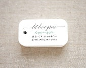 Let Love Grow Wedding Favor Tags - Personalized Gift Tags - Custom Wedding Favor Tags - Bridal Shower Tags - Set of 40 (Item code: J662)