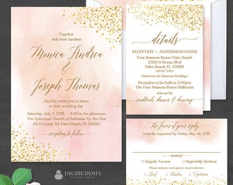 Blush Watercolor + Gold Foil 3Pc WEDDING SUITE Invitation Set Elegant Wedding Invitation Suite Watercolor Wedding Invites RSVP Set - Monica