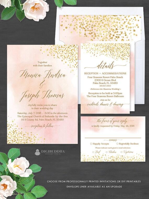 Blush Watercolor Gold Foil 3Pc WEDDING SUITE Invitation Set