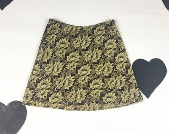 90s Metallic Brown Floral Lace Overlay Skater Skirt / Mini Skirt / Shiny / Gold / Size 6 / Grunge / Clueless / Party Girl / Neutrals / y2k /