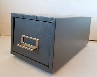 Vintage Metal Card Catalog File Box Office Storage Mid Century File Box 1960s Man Cave Decor Storage Filing