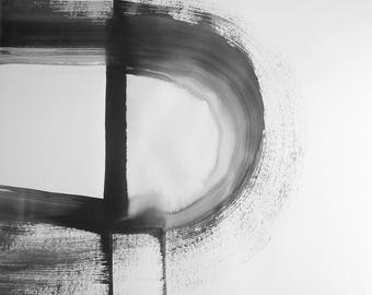 "A2 Original Hand Painted Contemporary Abstract Black and White Ink Wash Painting 16.5x23.4 ""Untitled 2117"""