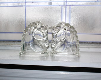 Vintage Horse Head Bookends Federal Glass