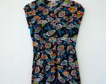 80's Fish Romper Coral Reef Black Neon Indian Cotton Shorts Playsuit Jumpsuit Sunsuit Button Front One Piece Culottes M L