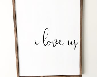 I Love Us Wood Sign-wedding, marriage, valentines, love, home decor, love sign, white and black, brown frame, uplifting, influential,