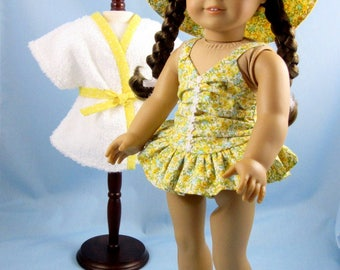 Doll Swimsuit 18 Inches - fits American Girl Dolls - 18 Inch Doll Clothes - Three Piece Doll Swim Set - Yellow Floral