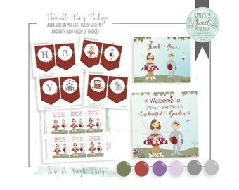 Fairy  & Knight Birthday Party Package- Printable PDF files. Fairy and knight in purple red and green. Multiple color and hair options