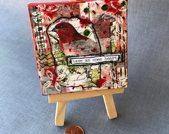 Red Cardinal Have A Open Heart Miniature Mixed Media Canvas Art with Easel