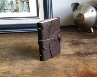 Mini Leather Journal, Brown, Hand-Bound 2 x 3 Journal by The Orange Windmill 1705