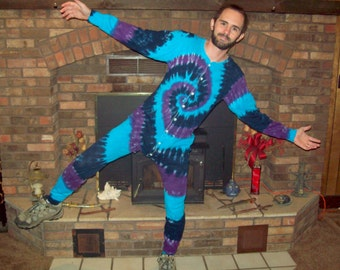 S M L XL 2XL Tie Dye Long Johns, Tie dye union suit, pajamas, adult one piece, River tie dye thermal