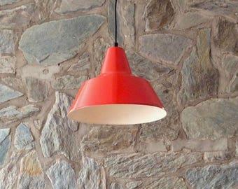 Vintage Philips model NK21 orange enameled steel industrial workshop light, loft light, industrial lampshade, factory light.