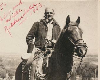 HALF MOON Morgan horse Rattlesnake Ed Barker Cowboy Hat Rancher Horses silver gelatin snapshot photograph