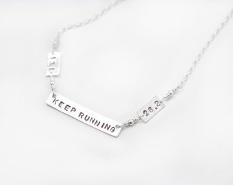 Keep running necklace, 26.2 , 13.1 , Runner necklace , gift for runners , marathon necklace , hand stamped bar necklace , marathon jewelry