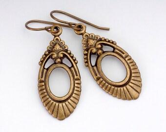 Brass Art Deco Earrings - Metal Earrings - Art Deco Jewelry - Nickel Free Antiqued Brass - Art Deco Drop Earrings - Dangle Earrings (Tracey)