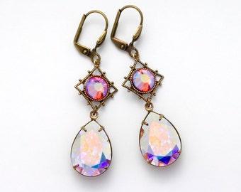 Iridescent Crystal Jewelry, Iridescent Swarovski Crystal Earrings, Iridescent Drop Earrings Filigree, Rhinestone Earrings Dangle, Europa