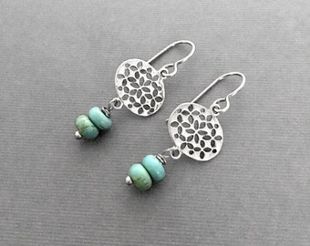 Turquoise Earrings, Sterling Silver, Moroccan Pattern, Artisan Earrings, Under 50, Gifts for Her