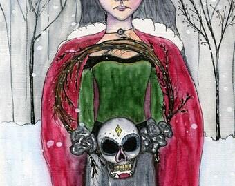 Christmas Art ORIGINAL 5.5x8.5 watercolor on paper // Wreath, girl, skull wreath, green dress, red coat // winter trees, snow, gray