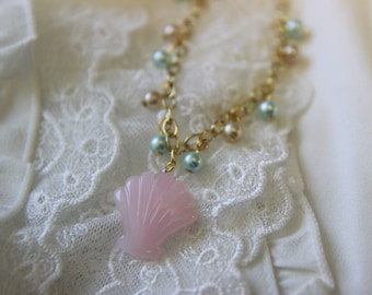 Gold Pear Bracelet With a Shell Charm