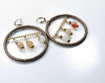 Boho Hoop Earrings, Big Hoop Earrings, Leather Hoop Earrings with beads, Christmas Gift for Her, Gemstone Hoops