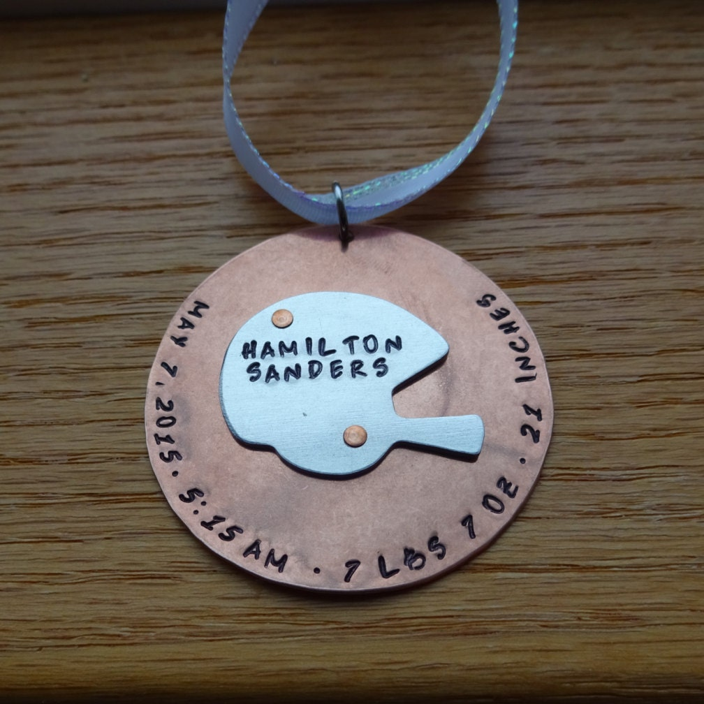 Football player ornament - Football Helmet Birth Announcement Hand Stamped Christmas Ornament 1 Football Player New Baby Ornament New Mom Christmas Ornament
