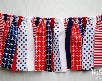 Nautical Fabric Bunting - FREE Shipping - Nautical Fabric Garland - Nautical Garland - Nautical Bunting - Nautical Banner - Nautical Party