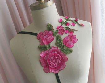 Goth Gothic Black Body Harness choker necklace  hot pink rose embellish Bondage Burlesque Frame Bra Bralette lingerie Steampunk Wrap top