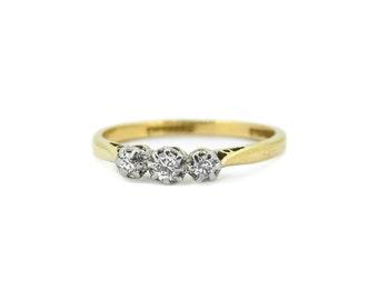 The Keepsake Diamond Trilogy Ring - 18ct Gold Vintage Ring
