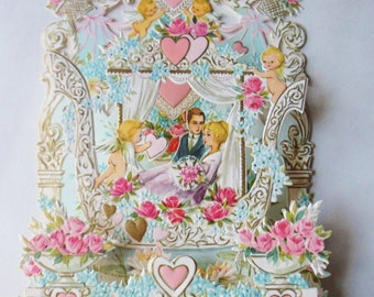 Pop Up Valentine Card, Romantic Valentines Day Card with Hearts Cherubs and Roses from Italy
