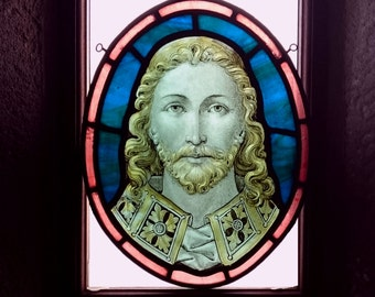 Antique Victorian Jesus Christ Stained Glass, Sacred Sensual Bearded Man, Anglo-Catholic Pre-Raphaelite, Rare Historic Church Window Roundel