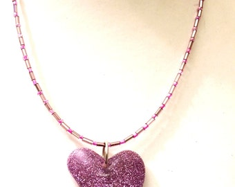 Funky Pink Contemporary Glitter Heart Pendant Necklace featuring purple glass bugle and pink glass seed beads-Gifts for her-Gifts for women