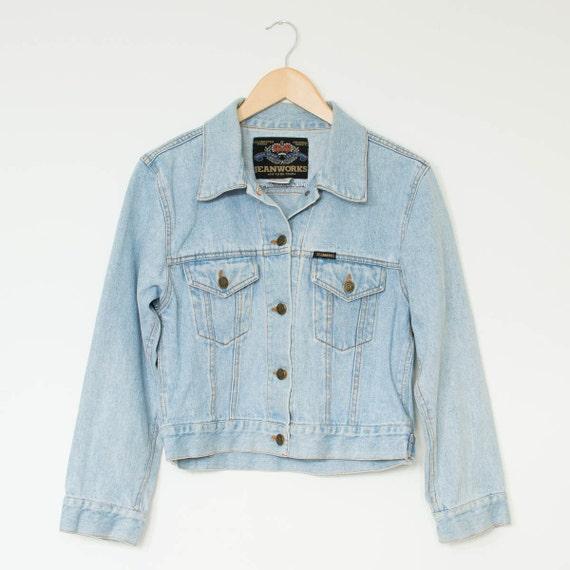 Vintage Women's Faded Pale Blue Denim Jacket by vagabondsvintageuk