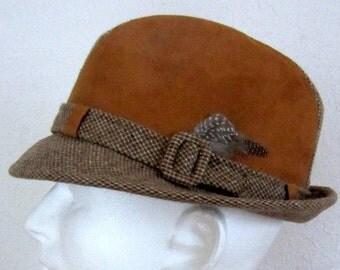 Mens Vintage Fedora Winter Hat Tan Suede and Wool Dobbs