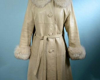 Vintage 60s Cream Leather Mod Coat + Fox Fur Trim, Hipster Leather Coat Large Fluffy Fox Collar Cuffs S